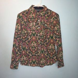 Tommy Hilfiger Paisley Print Button Down Shirt XS